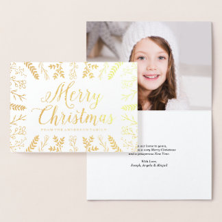 Winter Flourish | Gold Foil Holiday Photo Card