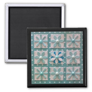winter flowers quilt arrangement magnet