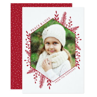 Winter Foliage   Holiday Photo Card   Red