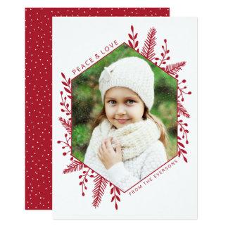 Winter Foliage | Holiday Photo Card | Red 13 Cm X 18 Cm Invitation Card