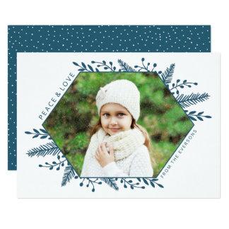 Winter Foliage Horizontal Photo Card   Teal