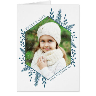 Winter Foliage Photo Holiday Greeting Card   Teal