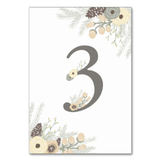 Winter Foliage Table Number 3 Card Table Cards