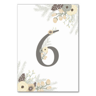 Winter Foliage Table Number 6 Card Table Cards