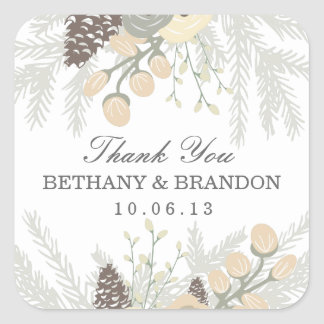 Winter Foliage Wedding Favor Stickers