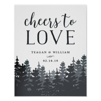 Winter Forest | Cheers to Love Wedding Bar Sign