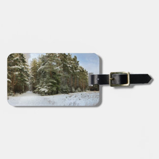 Winter forest luggage tag