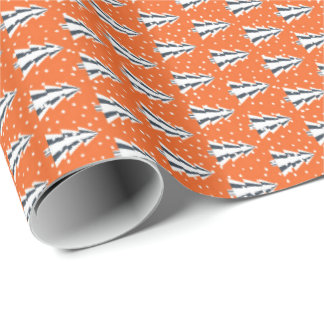 Winter forest orange, shining gift paper
