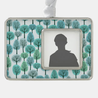 Winter Forest Pattern Silver Plated Framed Ornament