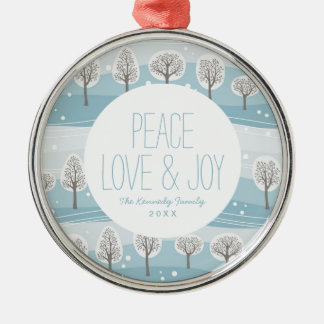 Winter Forest Pattern with Snow Christmas Ornament