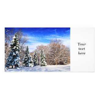 Winter forest customised photo card
