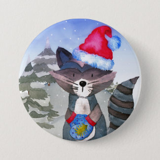 Winter Forest Woodland Friends Racoon Illustration 7.5 Cm Round Badge