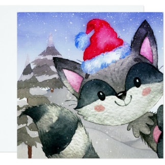 Winter Forest Woodland Friends Racoon Illustration Card