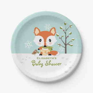 Winter Fox in Diapers Baby Shower 7 Inch Paper Plate