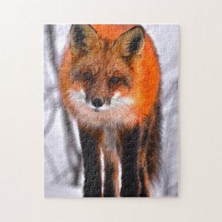 Winter Fox Quebec Canada. Jigsaw Puzzle