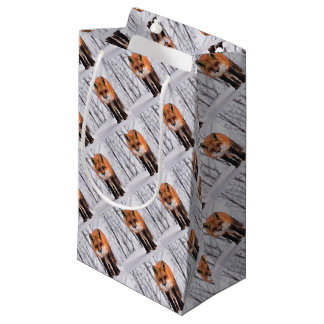 winter fox wrapping paper, woodland gift wrap small gift bag