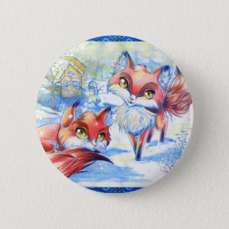 Winter Foxes 6 Cm Round Badge