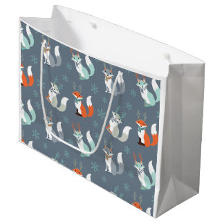 Winter Foxes with antlers Large Gift Bag