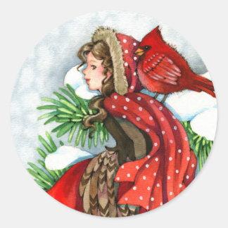 Winter Friends - Cardinal Bird Girl Stickers