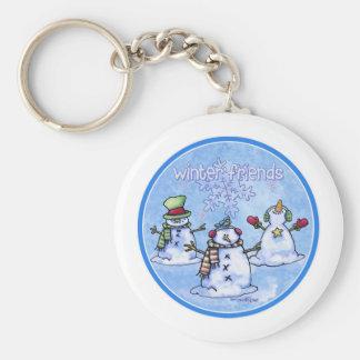 Winter Friends Snowmen Basic Round Button Key Ring
