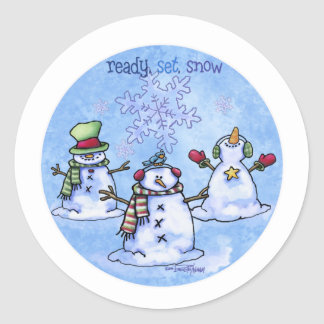 Winter Friends - Snowmen Classic Round Sticker