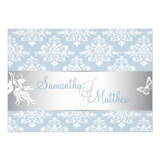 Winter Frost Damask Wedding Invitation Card