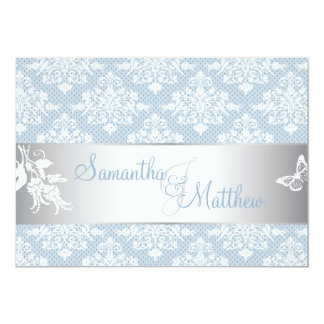 Winter Frost Damask Wedding Invitation Card