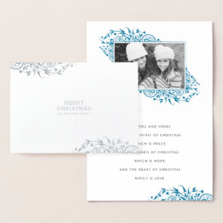 Winter Frost Merry Christmas Photo Foil Card