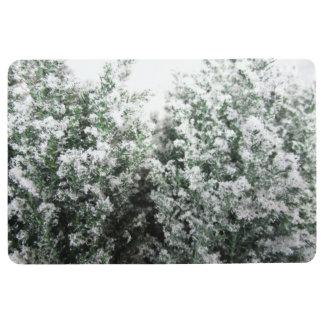 Winter Frost on Leaves Floor Mat