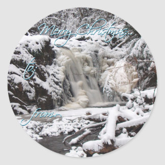 WINTER FROZEN WATERFALL by SHARON SHARPE Classic Round Sticker