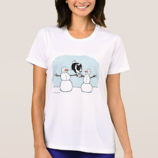 Winter Fun Border Collie Dog with Snowmen T-Shirt