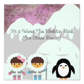 Winter Fun Customized  Birthday Invitations