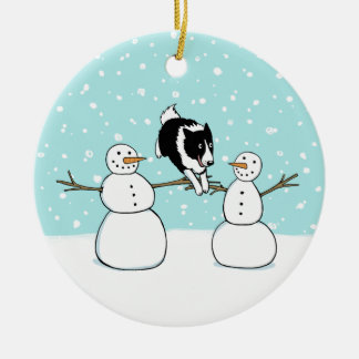Winter Fun Holiday Border Collie Dog with Snowmen Christmas Ornament