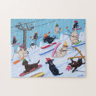 Winter Fun Skiing Labradors Jigsaw Puzzle