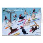 Winter Fun Skiing Labradors Painting