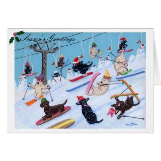Winter Fun Skiing Labradors Painting Greeting Card