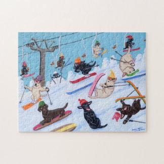 Winter Fun Skiing Labradors Puzzle