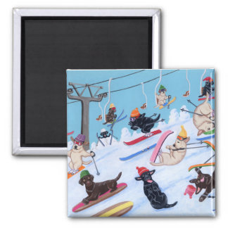 Winter Fun Skiing Labradors Square Magnet