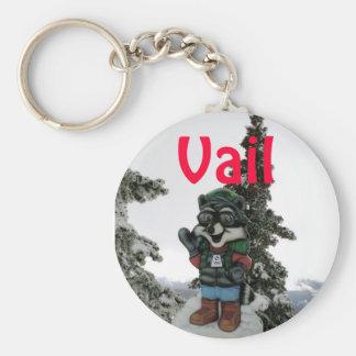 Winter Fun: Vail, Colorado Basic Round Button Key Ring