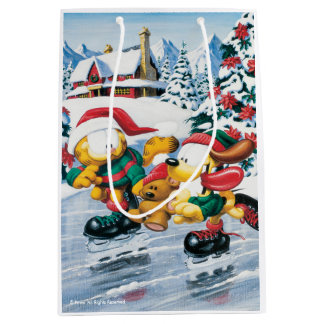 Winter fun with Garfield, Odie & Pooky Medium Gift Bag