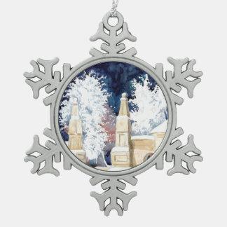 Winter gate at night (sketch) pewter snowflake decoration