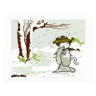 Winter Geisha Kitty Postcard