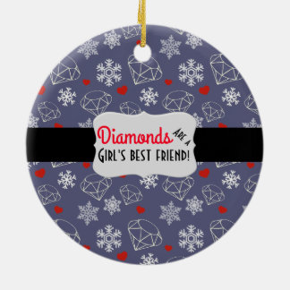 Winter Gemstone Diamonds and Snowflakes Round Ceramic Decoration