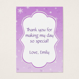 Winter Gift Favor Label Tag Purple Snowflakes