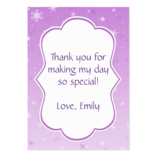 Winter Gift Favor Label Tag Purple Snowflakes Pack Of Chubby Business Cards