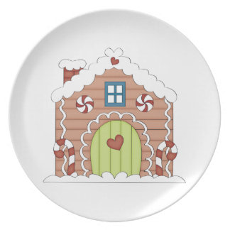 Winter Gingerbread House Holiday Plate