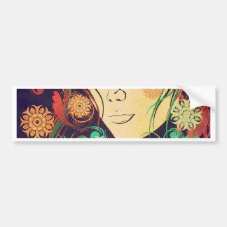 Winter Girl with Floral Grunge 2 Bumper Sticker