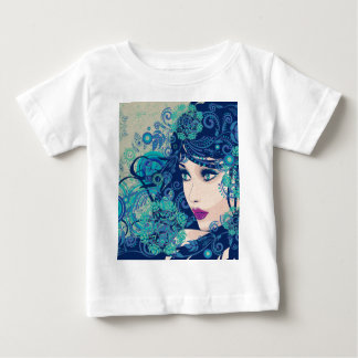 Winter Girl with Floral Grunge 3 Baby T-Shirt
