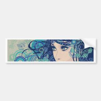 Winter Girl with Floral Grunge 3 Bumper Sticker