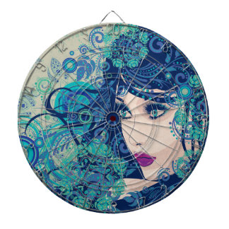 Winter Girl with Floral Grunge 3 Dartboards